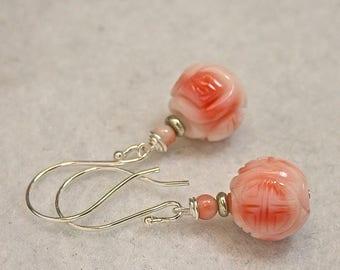 Vintage Carved Pink Angel Skin Coral Shou Eternity Symbol Dangle Bead VALENTINE Earrings, Handmade Bali Sterling Silver French Ear Wires