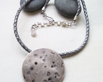 Full Moon Braided Leather Choker Necklace - Dark Love