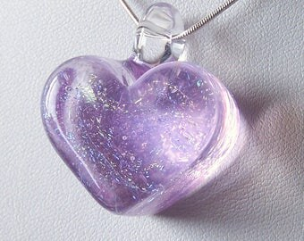Light Lilac Chunky Solid Glass Heart Pendant -  Lampwork Glass With Rainbow Dichroic Stars