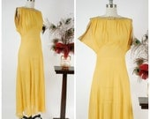 Vintage 1930s Dress - Ethereal Yellow Sheer Rayon Chiffon Bias Cut 30s Gown with Rhinestone Trimmed Neckline and Draped Sleeves