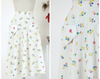 Vintage 1950s Skirt - Adorable Bright White Early 50s Skirt with Bright Summer Floral in Fuchsia, Chartruese, Royal Blue