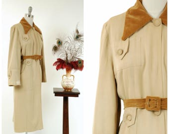 Vintage 1940s Coat - Iconic Sand Colored Rayon Gabardine Belted Waist 40s Trench Coat with Velvet Accents