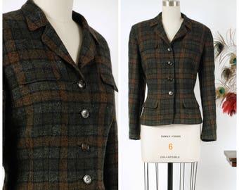 Vintage 1960s Jacket - Crisp Plaid Check Brown & Grey Wool Tweed Tailored Early 60s Jacket