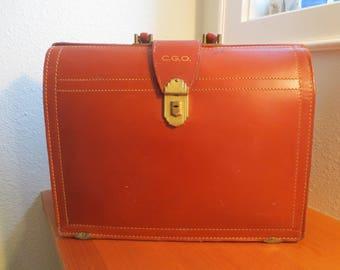 Vintage Leather Suitcase, Rexbilt Aged Leather Salesman Briefcase Doctors Bag, Brick Red Split Cowhide Luggage, Rustic
