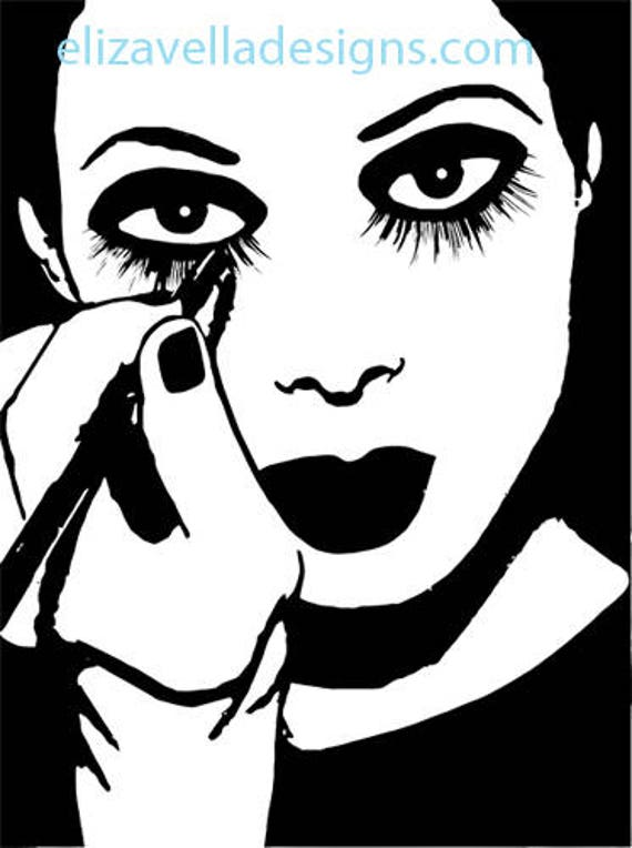 Mime woman putting on makeup printable black and white art Digital graphics Image Download circus gothic clown goth makeup home decor