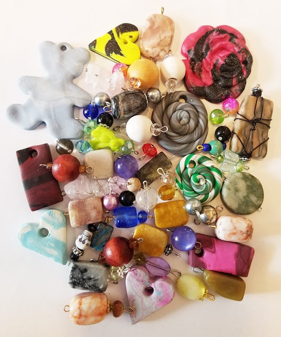 59 bead drops clay stone jewelry pendants charms mixed lot glass plastic beads craft supplies findings