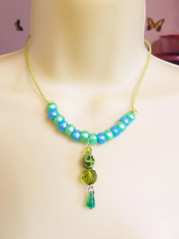 skull bead necklace green blue skeleton halloween necklace plastic glass beads beaded necklace cord day of the dead goth handmade jewelry