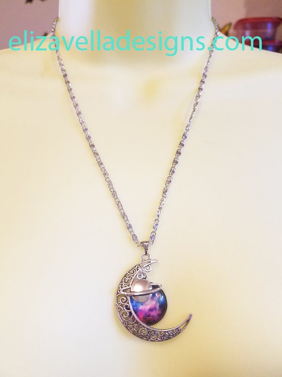 Half moon saturn PENDANT NECKLACE silver chain celestial planet space jewelry