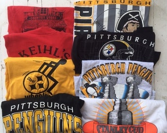 Vintage 1980s 1990s Pittsburgh Penguins Steelers Novelty Shirt Lot