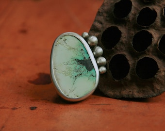 Tibetan Turquoise and Sterling Silver Statement Ring - Boho Chic - Rustic - One-of-a-Kind