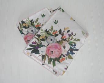 faux fur baby blanket- floral baby blanket- floral minky baby blanket- watercolor floral baby blanket- girl baby blanket- baby girl bedding