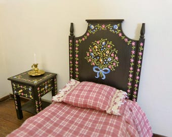 Dollhouse miniature  single bed in 12th scale Portuguese typical  hand painted furniture from Alentejo black background with tiny flowers
