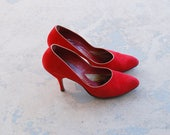vintage 50s High Heels - 1950s Red Suede Heels Leather Shoes Bombshell Rockabilly Sz 7.5 38