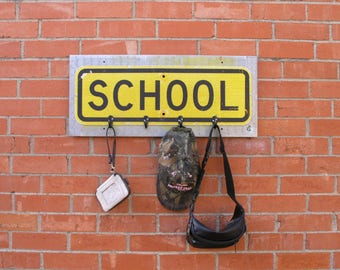 Back to School kids coat rack backpack hanger hat bag purse organizer Entryway coat rack Metal Road Sign upcycled ruler unique teacher gift