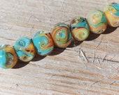 Lampwork BORO glass beads (7), borosilicate glass beads, handmade borosilicate lampwork glass beads, sand, aqua blue. borosilicate SRA