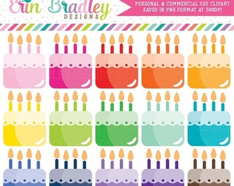 80% OFF SALE Birthday Cakes Clipart Party Food Clip Art Graphics for Invitations Planners Graphic Designers Commercial Use OK