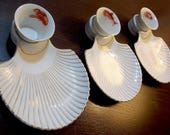 Vintage Scalloped Seashell Cocktail Appetizer Dishes / Nautical Beach House Kitchen Decor Item
