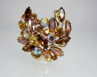 Chocolate Amber Rhinestone Brooch, Authentic Delizza and Elster Vintage Jewelry, Fancy Stone Jewelry, 1960's Jewelry, Bridal Bouquet Jewelry