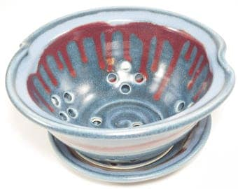 Pottery Colander - Colander - Strainer - Berry Colander - Ceramic Strainer - Berry Bowl - Berry Basket Clay - Pottery Berry Bowl - In Stock
