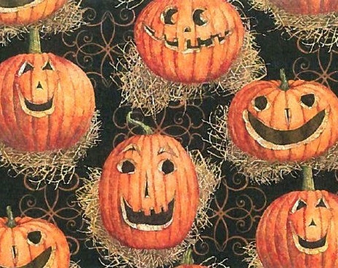 Halloween Fabric, Reflections Pumpkins Cotton Children's Fabric 43 inches wide
