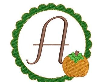 SALE 65% OFF Pumpkin Scallop Frame Monogram Machine Embroidery Fonts Alphabet 4x4 2 Sizes Halloween Thanksgiving Designs