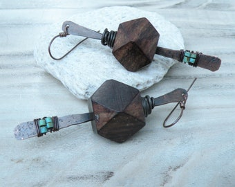 Long Rustic Wood and Copper Earrings, Brown and Turquoise Earrings, Geometric, Natural Handmade Jewelry