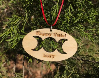 Happy Yule Triple Moon Ornament (Wooden ornament, Yule, Christmas, Winter Solstice, goddess christmas ornament)
