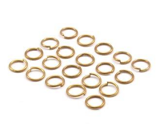 7mm Jump Rings - 250 Raw Brass Jump Rings (7x0.80mm) A0325