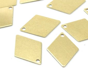 Brass Diamond Blank, 50 Raw Brass Diamond Charms, Pendant, Findings (17x12mm) D304