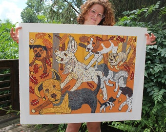 Dog woodcut, airedale, poodle, springer spainel, beagle, large wall art