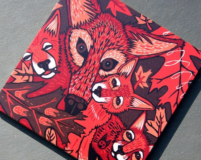 """Red Wolf, wolf family, print on wood, 6"""" x 6"""" square ready to hang"""