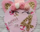 Personalised Unicorn Party Pink Rose Birthday Girls Rosette Badge Age Ribbon Rosette made to order