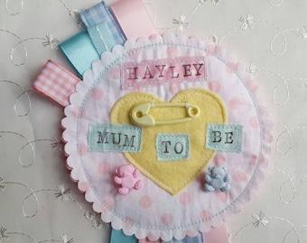 Personalised Baby Shower Rosette Badge girl boy Ribbon Rosette made to order
