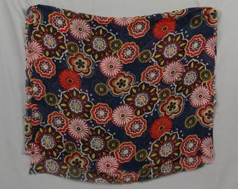 Polyester scarf, Shear, silk like fabric 2 yards long by 22 inches wide, Dark blue / Navy scarf Blue oranges and white, Flowers