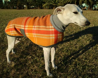 checks in orange, tan and yellow...winter coat for a medium to large whippet in vintage wool blanket and polar fleece