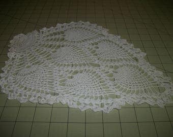 """Pair of vintage off-white crocheted Pineapple doilies. 13.5"""" L. x 10.5"""" W."""