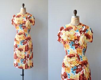 Bimbali silk dress | vintage 1940s dress | floral print silk 40s dress