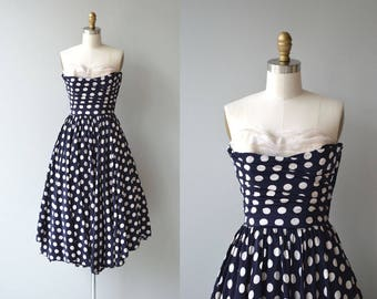 Prix de Rome dress | vintage 1950s silk dress | polka dot 50s dress