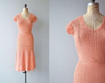 Sherbet crochet dress | 1930s crochet dress | cotton 30s knit dress