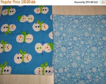 ON SALE Burp Cloth Snowman Snowflakes Gift Set of 2 Flannel  Larger Size