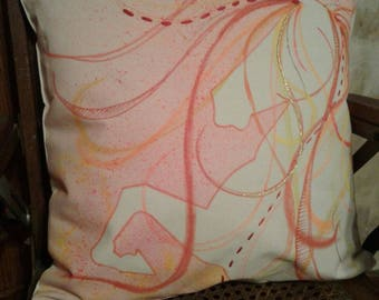 "Equine Decorative Pillow Cover - 22"" x 22"" one-of-a-kind, cover only."