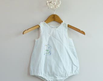 Baby's 1950s Cotton Tank Onesie Romper Playsuit • Size 12-18mo