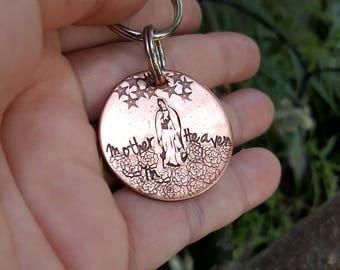 Virgen de Guadalupe keychain,  Mexican art keychain