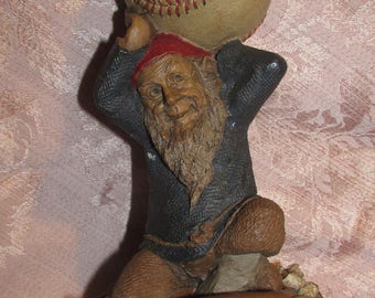Tom Clark Gnome Atlas 5113 Cairn Signed & Dated Elf With Baseball Vintage Gnome Statue Baseball Player Figurine 1990