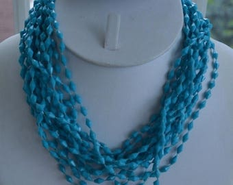 """On sale Pretty Vintage Turquoise Plastic Beaded Multi-Strand Necklace, 16"""""""