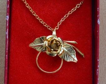 "On sale Pretty Vintage Gold tone Floral Rose Charm Holder Pendant Necklace, 16"" (R15)"