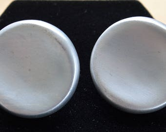Napier Large Clip/Screwback Earrings, Round, Brushed Silver tone, Vintage (B15)