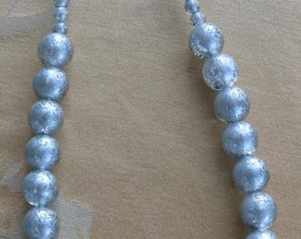 "ON SALE Pretty Vintage Silver Plastic Beaded Necklace, 28""-31"""