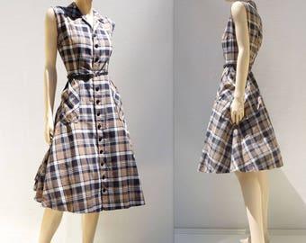 Vintage 1960s Dress Vintage Plaid Dress 60s Summer Dress 60s Full Skirt Dress 1960s Day Dress 60s Shirtwaist Dress 60s Sleeveless Dress m