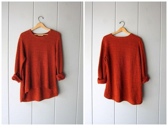 Oversized Thin Knit Cotton Sweater Top Minimal Knitwear Orange Black Tunic 90s Slouchy Pullover Woven Knit Shirt Womens Medium Large